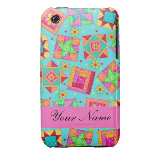 Turquoise & Colorful Quilt Blocks & Personalized Case-Mate iPhone 3 Case