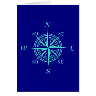Beach Themed Turquoise Compass Rose On Navy Blue Card