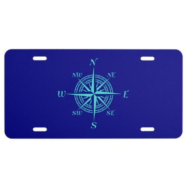 Beach Themed Turquoise Compass Rose On Navy Blue Coastal Decor License Plate
