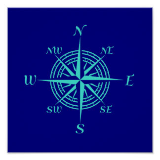 Turquoise Compass Rose On Navy Blue Coastal Decor Poster