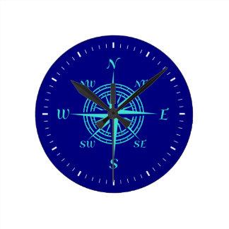 Turquoise Compass Rose On Navy Blue Coastal Decor Round Clock