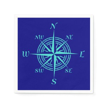 Beach Themed Turquoise Compass Rose On Navy Blue Paper Napkin
