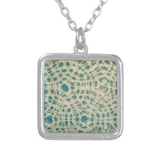 Turquoise concentric circles square pendant necklace