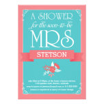 Turquoise Coral Future Mrs Whimsical Bridal Shower Custom Invites