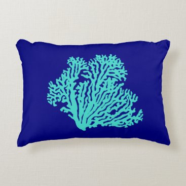 Beach Themed Turquoise Coral On Navy Blue Coastal Decor Decorative Pillow