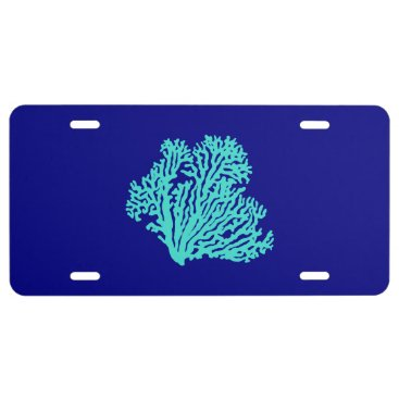 Beach Themed Turquoise Coral On Navy Blue Coastal Decor License Plate