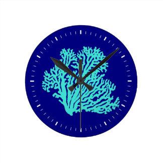 Turquoise Coral On Navy Blue Coastal Decor Round Clock