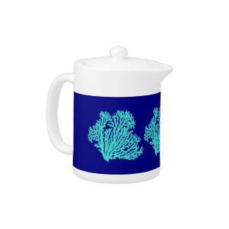 Turquoise Coral On Navy Blue Coastal Decor Teapot