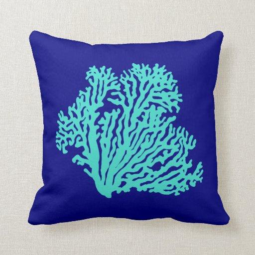 Coastal Color Throw Pillows : Turquoise Coral On Navy Blue Coastal Decor Throw Pillow Zazzle