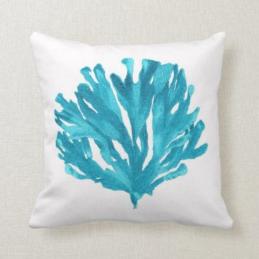Beach Themed Turquoise Coral Pillow