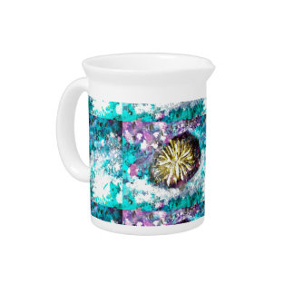 Turquoise coral reef abstract sea bed pitchers