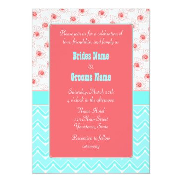 Beach Themed Turquoise, Coral,  Seashell and Chevron pattern Card