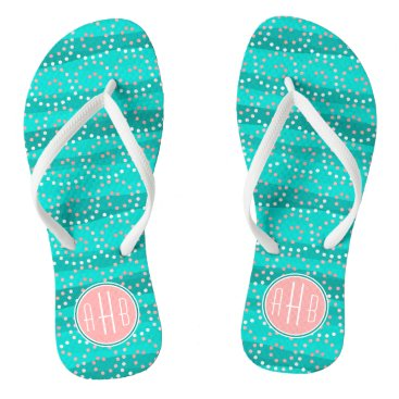 Beach Themed Turquoise & Coral Waves Monogram Flip Flops