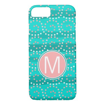 Beach Themed Turquoise & Coral Waves Monogram Phone Case