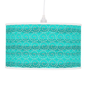 Beach Themed Turquoise & Coral Waves Pendant Lamp