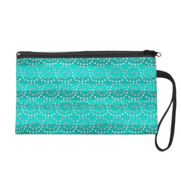 Beach Themed Turquoise & Coral Waves Wristlet/Cosmetic Bag