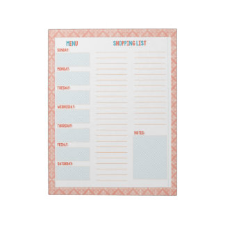 Turquoise & Coral Weekly Menu/ Grocery List Memo Notepad