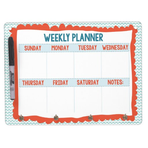 Turquoise & Coral Weekly Planner Whiteboard Dry Erase Board With Keychain Holder