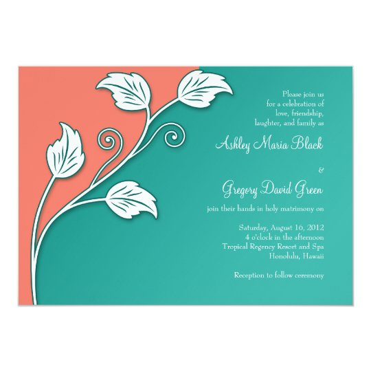 Coral And White Wedding Invitations: Turquoise, Coral White Leafy Vine Wedding Card