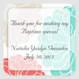 Turquoise & Coral Zinnia Flower Sticker