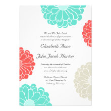 Turquoise & Coral Zinnia Flower Wedding Invitation