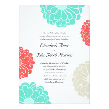 "Turquoise & Coral Zinnia Flower Wedding Invitation 5"" X 7"" Invitation Card"