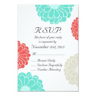 "Turquoise Coral Zinnia Flower Wedding RSVP 3.5"" X 5"" Invitation Card"
