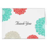 Turquoise & Coral Zinnia Flower Wedding Thank You Cards