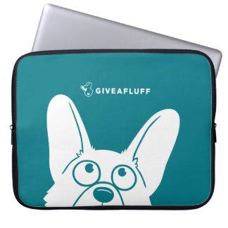 Turquoise Corgi Creeper Laptop Sleeve