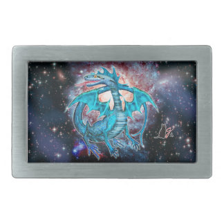 Turquoise Cosmic Dragon Oblong Belt Buckle