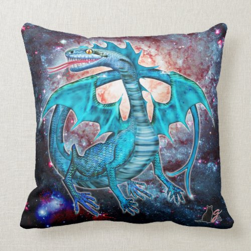 Turquoise Cosmic Dragon Pillow Throw Pillow