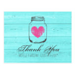Turquoise country chic mason jar thank you cards
