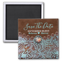 turquoise country western wedding save the date magnet