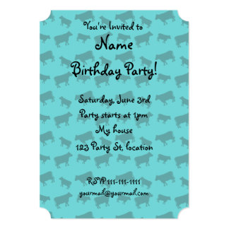 Turquoise cow pattern 5x7 paper invitation card