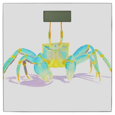 Beach Themed Turquoise Crab Bathroom Scale