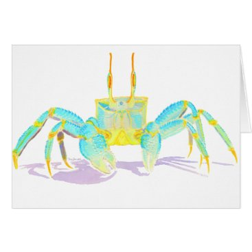 Beach Themed Turquoise Crab Card