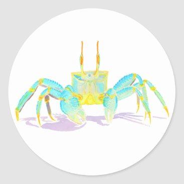 Beach Themed Turquoise Crab Classic Round Sticker
