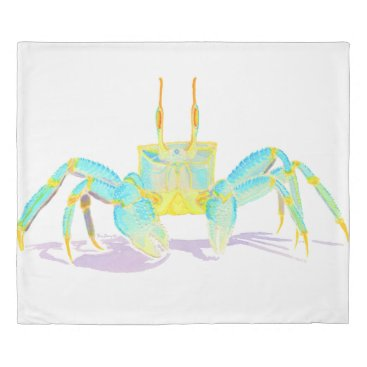 Beach Themed Turquoise Crab Duvet Cover
