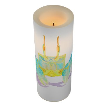 Beach Themed Turquoise Crab Flameless Candle
