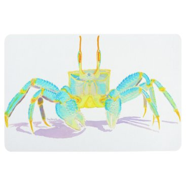 Beach Themed Turquoise Crab Floor Mat