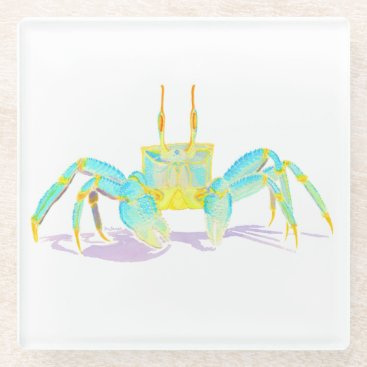 Beach Themed Turquoise Crab Glass Coaster