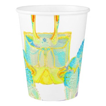 Beach Themed Turquoise Crab Paper Cup