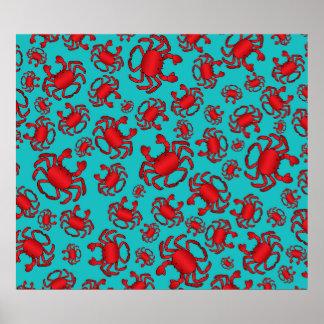 Turquoise crab pattern print