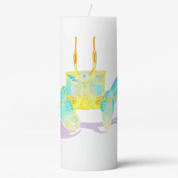 Beach Themed Turquoise Crab Pillar Candle