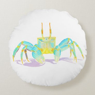 Beach Themed Turquoise Crab Round Pillow