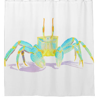 Turquoise Crab Shower Curtain
