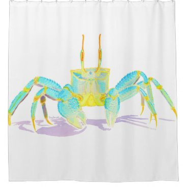 Beach Themed Turquoise Crab Shower Curtain