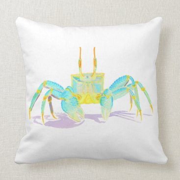 Beach Themed Turquoise Crab Throw Pillow