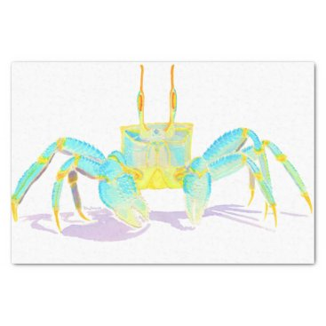 Beach Themed Turquoise Crab Tissue Paper