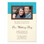 Turquoise & Cream Background Photo Wedding Invites
